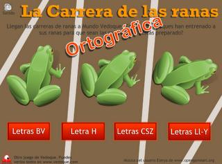 Juego de ortografía: carrera de ranas