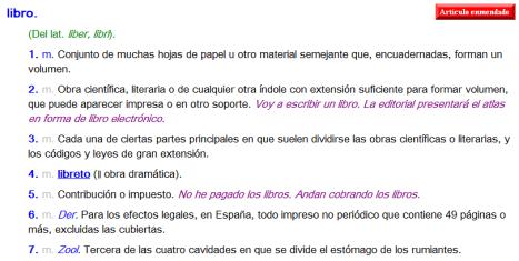 Definiciones de libro según la RAE